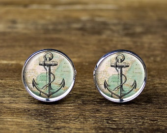 Anchor cufflinks, antique anchor cufflinks, anchor jewelry, anchor accessories