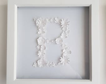 Framed 3D Paper Flowers - The Letter B