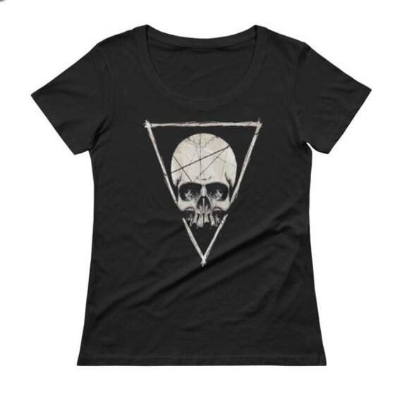 Skull Scoop Neck Ladies Tee Shirt