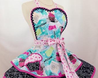 Luv To Bake Cupcake Apron, Retro Apron, Bakers Apron, Woman's Apron