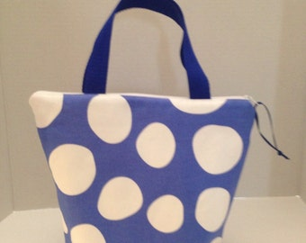 Blue and White Dot Zippered, Padded Lunch Bag, Tote Bag, Purse - Cotton Handmade
