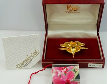 RISIS of Singapore 24k Gold Plated Orchid Pin / Pendant Mint in Box with Tags