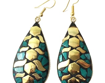 Nepal Turquoise Earrings, Mosaic Nepal Jewelry,Vintage Gold,Antique Earrings,Tibetan jewelry,Afghan Jewelry by Taneesi