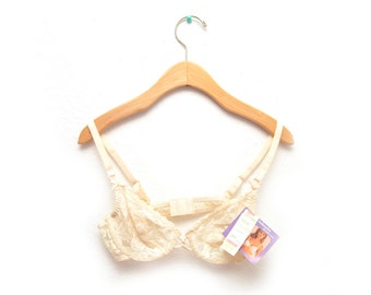 80s Lace Sheer 34B Underwire Bra Floral Women's NOS Dead Stock Cream B Cup Plunge Neckline