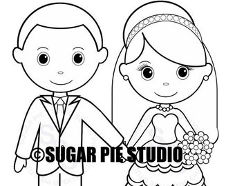 Kids coloring pages etsy personalized printable bride groom wedding party favor childrens kids coloring page activity pdf or jpeg file altavistaventures Images