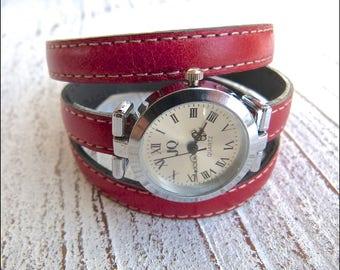 Wrist watch leather#123, bracelet watch red,Ladies watch, handmade jewelry, watch to wrap,red,Boho Chic,Winding wrist watch, Women, watch