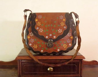 Dads Grads Sale Hand Tooled Brown Leather Shoulder Bag With Painted Floral Print And Medieval Brass Closure Clasp - Very Cool- VGC