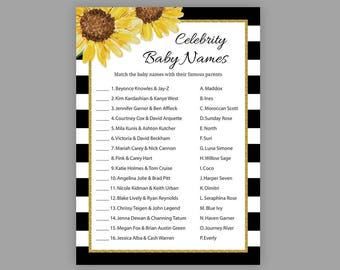 Baby shower games, Celebrity baby name, Gold baby shower, Printable baby shower game, Celebrity baby names, Stripes, S002