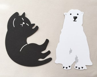 30 sheets of Kawaii Message Cards - Die-Cut Notes - Tag - Black Cat or Polar Bear