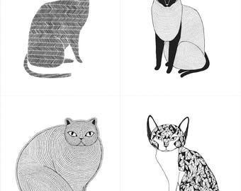 Catnip Cat Fabric, Black & White Cats, Gingiber for Moda, 48230 11 Cat Blocks - priced by the Panel