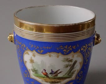 Antique Cachepot Blue Porcelain Cartouche Painted Birds