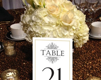Formal Table Numbers, Black and Gold Table Numbers, Flourish Table Numbers, Crown Table Numbers 1 - 50 Instant Print Table Numbers