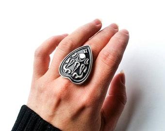 Skull Planchette Enamel Ring- Ouija Ring- Ouija Board Ring - Planchette Ring - Ouija Enamel Ring - Witchy Ring - Birdskull Pin - ouiji