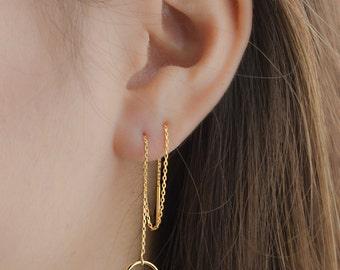 Long Circle Threader Earrings, Sterling Silver and Gold Plated Chain Earrings, Minimalist Edgy Jewelry, Hand Made, Gift for Mom , CHE026