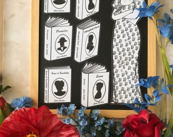Jane Austen & novels: Bookmark to color with magnets to color. Party favors, gift idea for Austenites / Janeites! Bookish