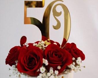 50th anniversary cake topper - gold - Cake topper - 50th cake topper #1015