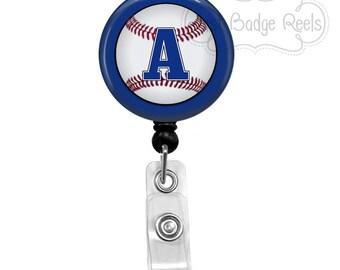 Retractable Badge Holder - Baseball Badge Reel - Nurse Badge Holder - Retractable Badge Reel - Initial Badge Reel - 0086