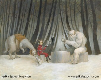 "Star Wars 8x10 Art Print, Wampa Painting, Tauntaun Art, ""Teatime with Wampa"""