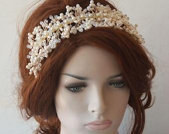 Pearl Headpiece, Wedding Pearl Headband, Wedding Headpiece,  Bridal Tiara, Bridal Jewelry