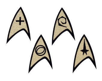 Star Trek Insignia: Command, Science, Engineering or Medical Embroidered Iron On Patch Iron on Applique