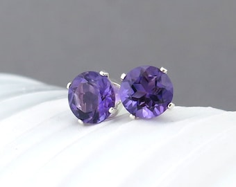 Amethyst Stud Earrings Birthday Gift Idea for Mom Amethyst Earrings February Birthstone Earrings Birthstone Jewelry Gift for Her
