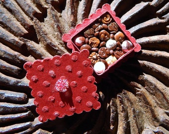 Miniature Box of Chocolates 12th Scale Red Valentine's Day