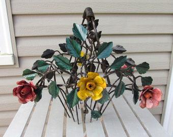 "Vintage Steel Flower Basket - Hand made Blacksmith Special - 15x13 - 20"" tall  - design both sides"