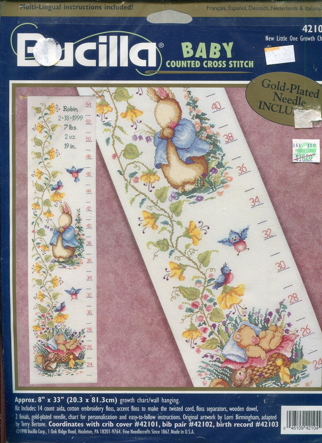 New little one growth chart 8 x 33 counted cross stitch kit bucilla sold by pengypatterns geenschuldenfo Choice Image