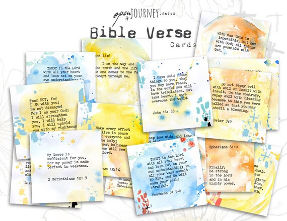 Inspirational Bible Verse Cards - set of 24 - digital download