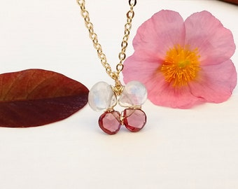 Butterfly Gemstone Necklace, Gold Filled, Real Genuine AAA Rainbow Moonstone Garnet, Wire Wrapped, White Blue Red, Gift, Nature Jewelry