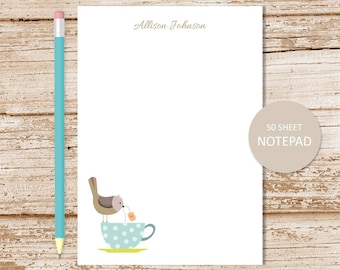 personalized notepad . tea cup notepad . bird note pad . personalized stationery . teacup stationary