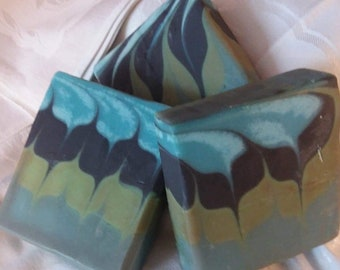 Blue Tiwan Swirl Cold Process Soap