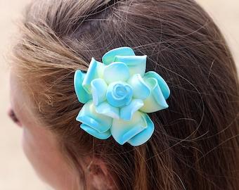 Gardenia Hair Clip, 3 Inch, Blue Hair Clips,   Bridal Hair Accessory, Gardenia, Wedding Hair Clip