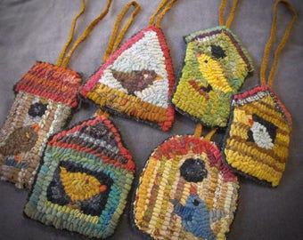 Birdhouse Paper Patterns set for rug hooking and punchneedle//birds in birdhouses//ornaments//printed version
