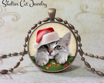 "Christmas Gray Tabby Kitten in Santa Hat Necklace - 1-1/4"" Circle Pendant or Key Ring - Humor Christmas Cat - Holiday Present - Gift"