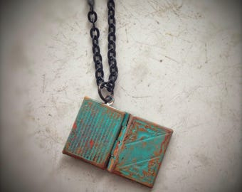 Book locket, turquoise hand painted distressed, black chain, reader student teacher librarian scholar holiday gift