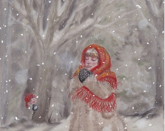 Original Art: Hiding Gnome. Christmas, nordic, folklore, scandinavian, nisse, tomte, jul, xmas, holidays, winter, girl, snow