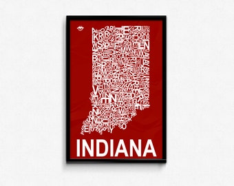 Indiana County Map Poster