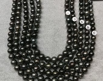 Ultra-Luster Round/Near Round High Luster Tahitian Pearl Necklace Strands Most beautiful Dark Color - LOT43