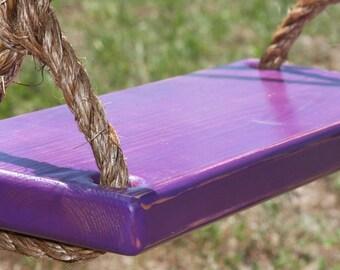 Wooden Purple Tree Swing, Double Rope