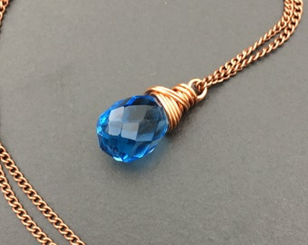 Blueberry Quartz Copper Necklace