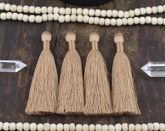 "Mocha Chip Tassels, 3.5"" Silky Luxe Fringe Pendant, Neutral Tone Mala Making, Bohemian Festival Fashion, Jewelry Making Supply, 2 Pieces"