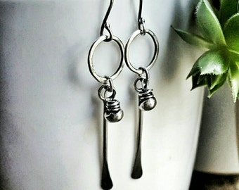 Sterling Silver Tribal Earrings, Long Stem Dangle Earrings, Recycled Silver Beaded Circles, Gifts For Her - Warrior