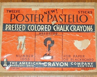 Vintage Colored Chalk Crayons - Poster Pastello - American Crayon Co. - Art - Drawings