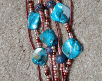Boho leather turquoise and copper multistrand bracelet