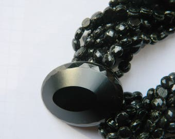 French jet necklace 10 strands - Mourning 19th - Black Faceted Glass Jewelry