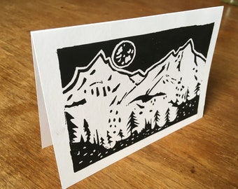 Mountain Range lino card