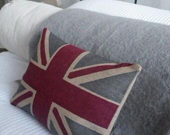hand printed rustic union  jack  cushion