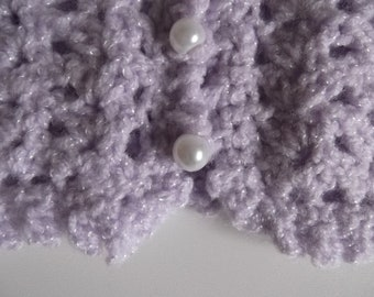 Girls crochet cropped cardigan in lilac sparkle