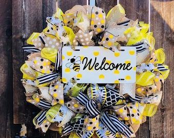 Bee Wreath, Yellow Wreath, Welcome Wreath, Door Decor